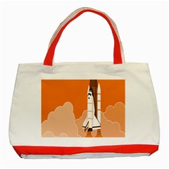Rocket Space Ship Orange Classic Tote Bag (red) by Mariart