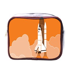 Rocket Space Ship Orange Mini Toiletries Bags by Mariart