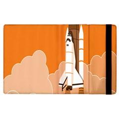 Rocket Space Ship Orange Apple Ipad 3/4 Flip Case by Mariart