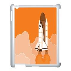 Rocket Space Ship Orange Apple Ipad 3/4 Case (white) by Mariart
