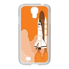 Rocket Space Ship Orange Samsung Galaxy S4 I9500/ I9505 Case (white) by Mariart