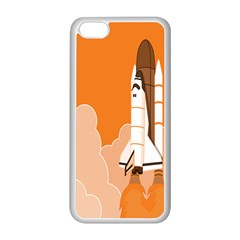 Rocket Space Ship Orange Apple Iphone 5c Seamless Case (white) by Mariart