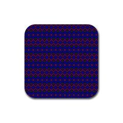 Split Diamond Blue Purple Woven Fabric Rubber Square Coaster (4 Pack)  by Mariart