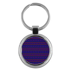 Split Diamond Blue Purple Woven Fabric Key Chains (round)  by Mariart