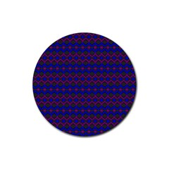 Split Diamond Blue Purple Woven Fabric Rubber Round Coaster (4 Pack)  by Mariart