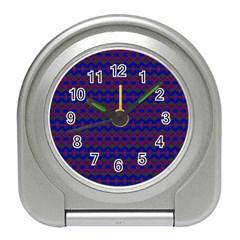 Split Diamond Blue Purple Woven Fabric Travel Alarm Clocks by Mariart