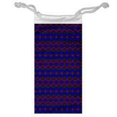 Split Diamond Blue Purple Woven Fabric Jewelry Bag by Mariart