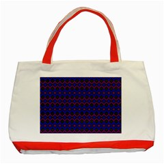 Split Diamond Blue Purple Woven Fabric Classic Tote Bag (red) by Mariart
