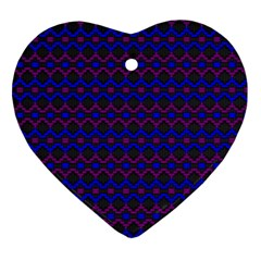 Split Diamond Blue Purple Woven Fabric Heart Ornament (two Sides) by Mariart