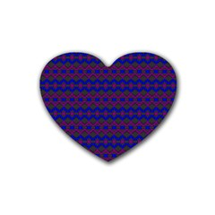 Split Diamond Blue Purple Woven Fabric Heart Coaster (4 Pack)  by Mariart