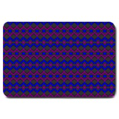 Split Diamond Blue Purple Woven Fabric Large Doormat  by Mariart