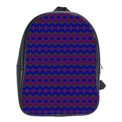 Split Diamond Blue Purple Woven Fabric School Bags(large)  by Mariart