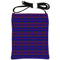 Split Diamond Blue Purple Woven Fabric Shoulder Sling Bags by Mariart