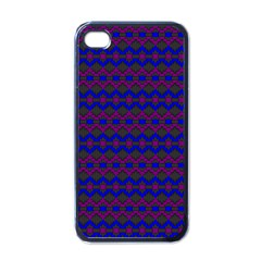 Split Diamond Blue Purple Woven Fabric Apple Iphone 4 Case (black) by Mariart