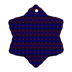 Split Diamond Blue Purple Woven Fabric Snowflake Ornament (two Sides) by Mariart