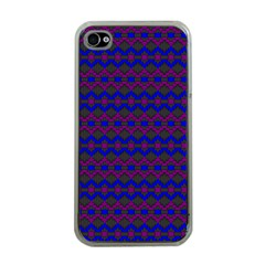 Split Diamond Blue Purple Woven Fabric Apple Iphone 4 Case (clear) by Mariart