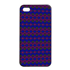 Split Diamond Blue Purple Woven Fabric Apple Iphone 4/4s Seamless Case (black) by Mariart