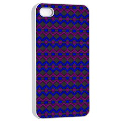 Split Diamond Blue Purple Woven Fabric Apple Iphone 4/4s Seamless Case (white) by Mariart