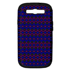 Split Diamond Blue Purple Woven Fabric Samsung Galaxy S Iii Hardshell Case (pc+silicone) by Mariart