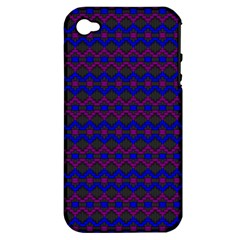 Split Diamond Blue Purple Woven Fabric Apple Iphone 4/4s Hardshell Case (pc+silicone) by Mariart