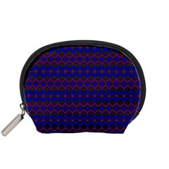 Split Diamond Blue Purple Woven Fabric Accessory Pouches (small)  by Mariart