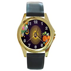Polka Dot Circle Leaf Flower Floral Yellow Purple Red Star Round Gold Metal Watch by Mariart