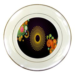 Polka Dot Circle Leaf Flower Floral Yellow Purple Red Star Porcelain Plates by Mariart