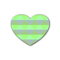 Squares Triangel Green Yellow Blue Rubber Coaster (heart)  by Mariart
