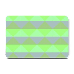 Squares Triangel Green Yellow Blue Small Doormat  by Mariart