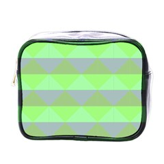 Squares Triangel Green Yellow Blue Mini Toiletries Bags by Mariart