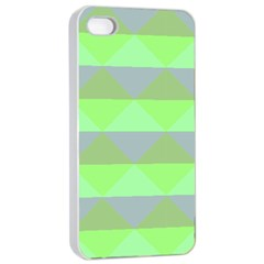 Squares Triangel Green Yellow Blue Apple Iphone 4/4s Seamless Case (white) by Mariart