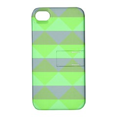 Squares Triangel Green Yellow Blue Apple Iphone 4/4s Hardshell Case With Stand by Mariart