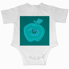 Xray Worms Fruit Apples Blue Infant Creepers by Mariart