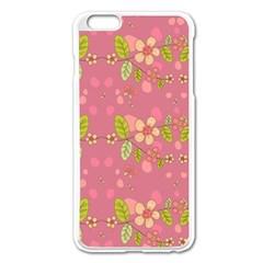 Floral Pattern Apple Iphone 6 Plus/6s Plus Enamel White Case by Valentinaart