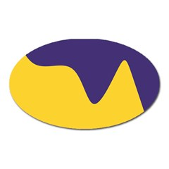 Purple Yellow Wave Oval Magnet by Mariart