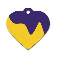 Purple Yellow Wave Dog Tag Heart (one Side) by Mariart