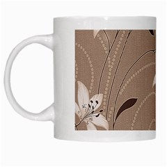 Star Flower Floral Grey Leaf White Mugs by Mariart