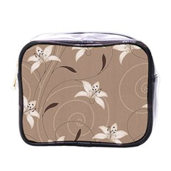 Star Flower Floral Grey Leaf Mini Toiletries Bags by Mariart