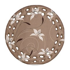 Star Flower Floral Grey Leaf Round Filigree Ornament (two Sides) by Mariart