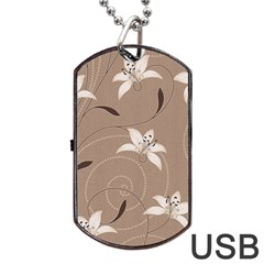 Star Flower Floral Grey Leaf Dog Tag Usb Flash (two Sides) by Mariart