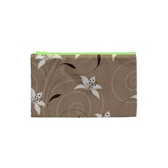 Star Flower Floral Grey Leaf Cosmetic Bag (xs) by Mariart