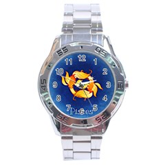 Zodiac Pisces Stainless Steel Analogue Watch by Mariart