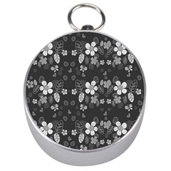Floral Pattern Silver Compasses by Valentinaart