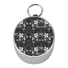 Floral Pattern Mini Silver Compasses by Valentinaart