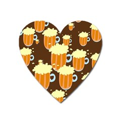 A Fun Cartoon Frothy Beer Tiling Pattern Heart Magnet by Nexatart