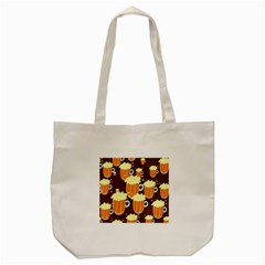 A Fun Cartoon Frothy Beer Tiling Pattern Tote Bag (cream) by Nexatart
