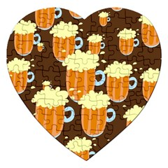A Fun Cartoon Frothy Beer Tiling Pattern Jigsaw Puzzle (heart) by Nexatart