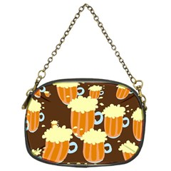 A Fun Cartoon Frothy Beer Tiling Pattern Chain Purses (two Sides)  by Nexatart