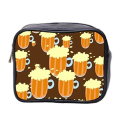 A Fun Cartoon Frothy Beer Tiling Pattern Mini Toiletries Bag 2-Side