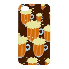A Fun Cartoon Frothy Beer Tiling Pattern Apple Iphone 4/4s Hardshell Case by Nexatart